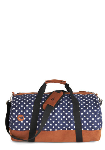 Traveling Near and Star Weekend Bag - Blue, White, Travel, Good, Woven, Faux Leather, Print