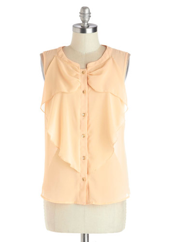 Breezy Bows Top - Mid-length, Chiffon, Sheer, Woven, Tan, Solid, Buttons, Ruffles, Daytime Party, Pastel, Sleeveless, Brown, Sleeveless