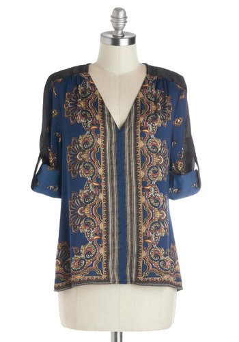 Room Redo Top - Woven, Mid-length, Tab Sleeve, Blue, Multi, Paisley, Casual, Boho, Vintage Inspired, 70s, 3/4 Sleeve, V Neck