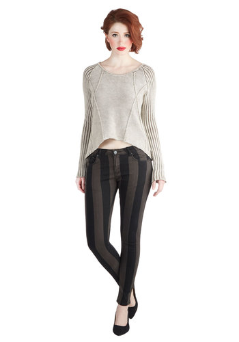 Band-ing Room Only Pants - Cotton, Woven, Stripes, Skinny, Black, Pockets, Girls Night Out, Urban, Good, Low-Rise, Full length, Multi, Non-Denim