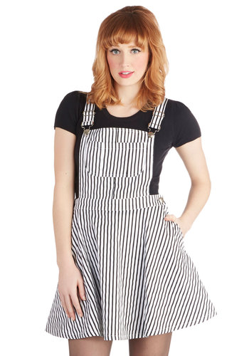 Brooklyn by Day Jumper - Long, Woven, Stripes, Pockets, Casual, A-line, Tank top (2 thick straps), Multi, Black/White, Overalls