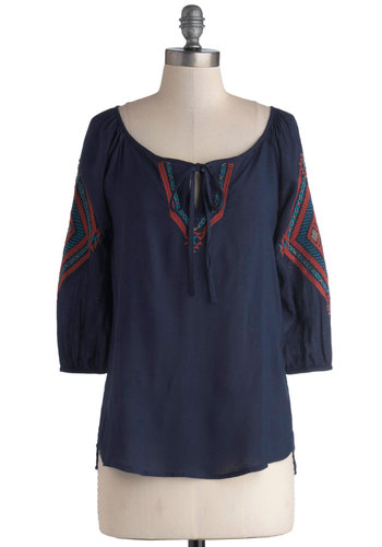 Vernacular Vocabulary Top - Woven, Mid-length, Blue, Red, Embroidery, Tie Neck, Casual, Boho, Vintage Inspired, 70s, 3/4 Sleeve, Scoop, Blue, 3/4 Sleeve