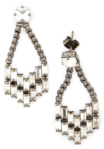 State of the Art Deco Earrings in Pewter - White, Solid, Vintage Inspired, Luxe, Best, Rhinestones, Silver, 20s