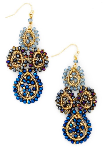 Heiress is More Crystal Earrings - Blue, Solid, Beads, Statement, Gold, Multi