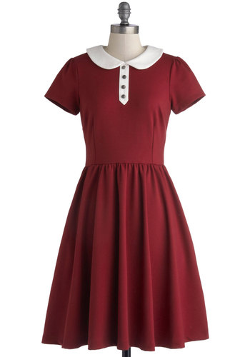 Fond Voyage Dress by Myrtlewood - Long, Knit, Red, White, Buttons, Peter Pan Collar, Casual, A-line, Short Sleeves, Better, Collared, Solid, Pockets, Vintage Inspired, 50s, Exclusives, Private Label