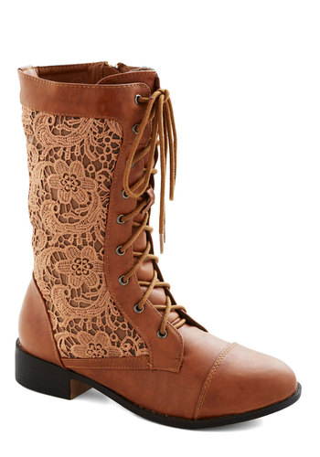 Cinnamon Grin Boot - Low, Faux Leather, Woven, Brown, Solid, Lace, Lace Up, Lace
