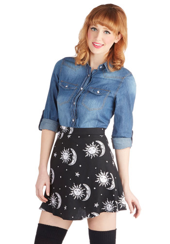 Stun, Moon, and Stars Skirt by Motel - Woven, Short, Black, White, Novelty Print, Cosmic, A-line, Good, Black