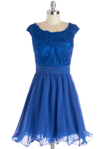 A Perfect Pose Dress - Blue, Solid, Lace, Special Occasion, Prom, Fit & Flare, Better, Boat, Mid-length, Chiffon, Satin, Woven, Bridesmaid, Embroidery, Ruffles, Cap Sleeves