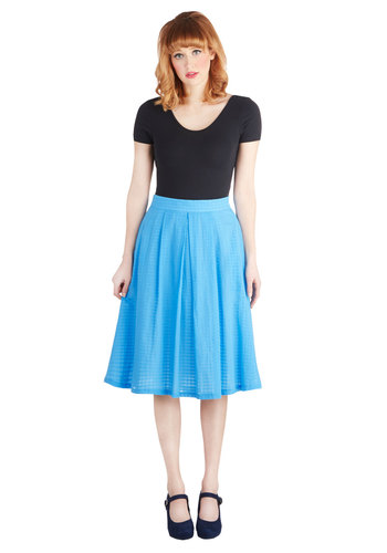 Breezing By Skirt - Long, Cotton, Woven, Blue, Solid, A-line, Exclusives, Pockets, Casual, Daytime Party, Vintage Inspired, Blue, Gifts Sale