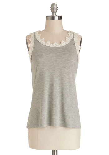 Beautiful Basics Top - Knit, Mid-length, Grey, Solid, Lace, Tank top (2 thick straps), Good, Grey, Sleeveless, Trim, Casual, Boho, French / Victorian, Scoop, Festival, Lace, Summer