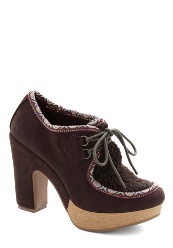 To Be Frankenmuth Heels - Faux Leather, Faux Fur, High, Brown, Solid, Folk Art, Fall, Lace Up