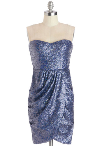 Mermaid With Love Dress - Woven, Short, Blue, Solid, Sequins, Party, Holiday Party, Mini, Strapless, Better, Sweetheart, Girls Night Out