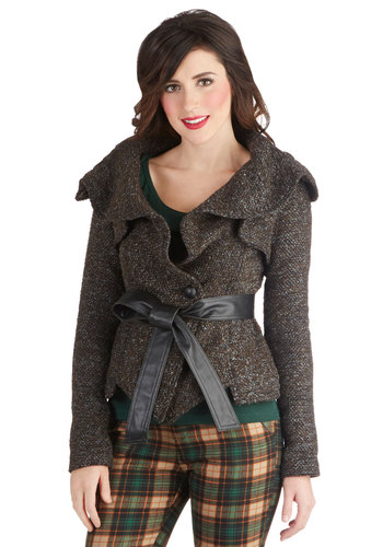Cobblestone Street Style Jacket - Grey, Bows, Long Sleeve, Work, Casual, Fall, Winter, Short, 2.5, Grey