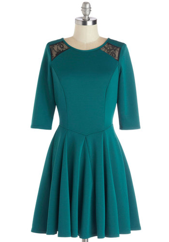 Marvelous Matinee Dress - Sheer, Knit, Mid-length, Green, Black, Lace, Party, A-line, 3/4 Sleeve, Better, Crew, Exposed zipper