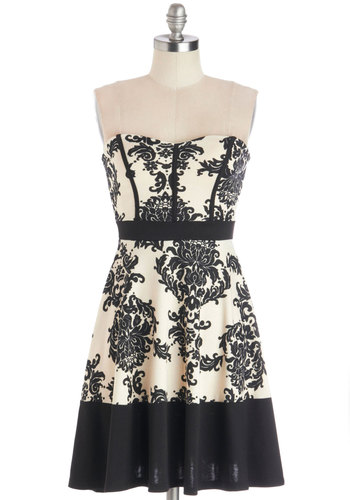 What Do You Clink? Dress - Knit, Black, White, Floral, Party, A-line, Strapless, Good, Sweetheart, Daytime Party, Mid-length