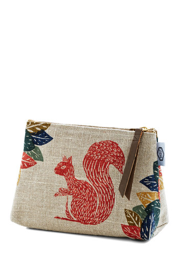 Woodland You Look at That Makeup Bag - Woven, Multi, Critters, Good, Print with Animals, Travel