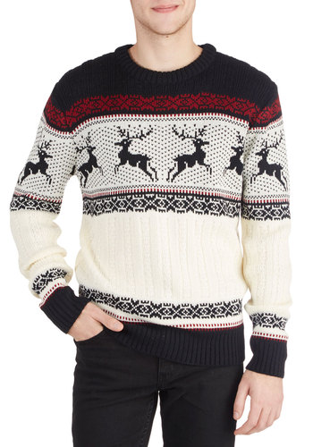 Dashing Deer Sweater - Knit, Mid-length, Multi, Red, Tan / Cream, Black, Print with Animals, Holiday, Long Sleeve, Winter, Crew