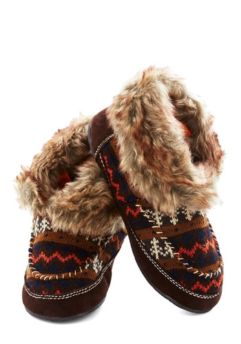 Fun by the Fire Slippers - Flat, Faux Leather, Faux Fur, Knit, Brown, Multi, Print, Winter, Good, Casual, Rustic