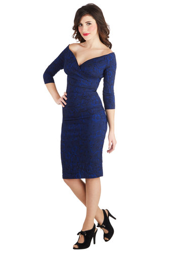 Presidential Personality Dress - Knit, Long, Blue, Solid, Lace, Party, Sheath / Shift, 3/4 Sleeve, Better, Holiday Party, Prom, Lace