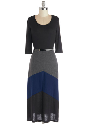 On the Water Dress - Long, Knit, Black, Blue, Grey, Belted, Casual, Maxi, 3/4 Sleeve, Good, Scoop, Colorblocking