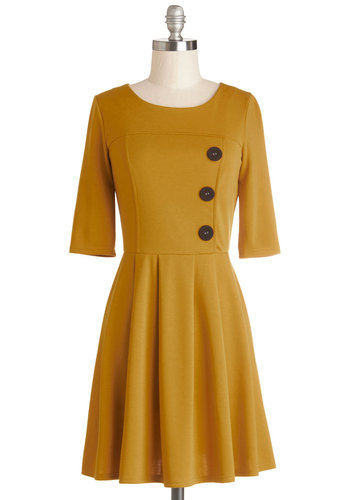 Either Orange Dress in Goldenrod - Cotton, Knit, Yellow, Solid, Buttons, Casual, A-line, 3/4 Sleeve, Good, Scoop, Pleats, Work, Mid-length
