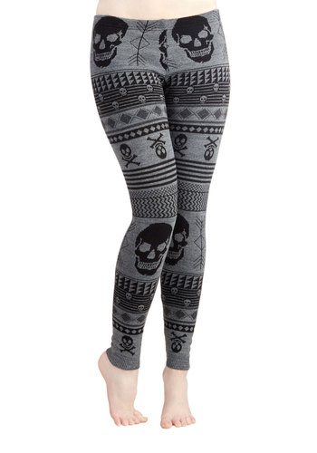 Snuggle after Skull Leggings - Grey, Novelty Print, Casual, Skulls, Better, Low-Rise, Ankle, Grey, Knit, Skinny, WPI