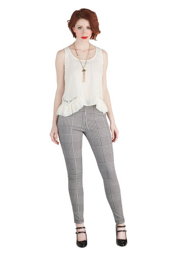 Field Trip of Dreams Pants - Woven, Black, Houndstooth, Exposed zipper, Winter, Good, High Rise, Full length, Black