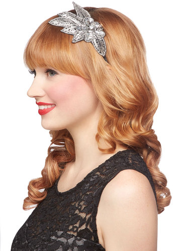 With a Fleur-ish Headband - Silver, Solid, Beads, Flower, Sequins, Special Occasion, Wedding, Party, Cocktail, Holiday Party, Luxe, Better
