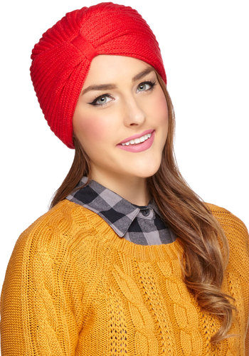 Haute in the Snow Hat - Red, Solid, Fall, Winter, Better, Knit, Knitted, Vintage Inspired, 30s, 40s