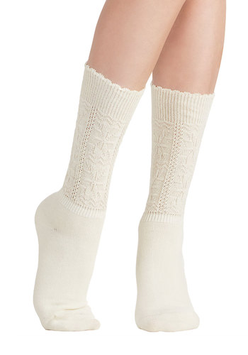 Pretty as a Snowflake Socks in Ivory - Knit, White, Solid, Scallops, Good, Variation, Basic