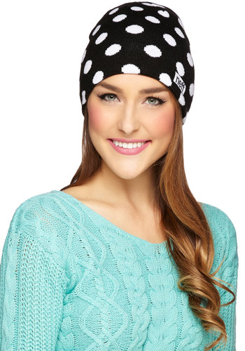 Collect Your Dots Hat - Knit, Black, White, Polka Dots, Casual, Better, Winter