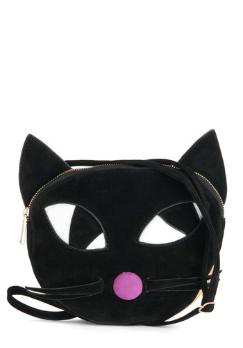 Here's to Mew Bag by Kling - Black, Pink, White, Print with Animals, Cats, Good, Halloween, Statement