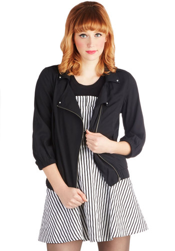 Train Traveler Jacket by Jack by BB Dakota - Black, Solid, Pockets, Casual, Urban, 3/4 Sleeve, Woven, Mid-length, Epaulets, Spring, Festival