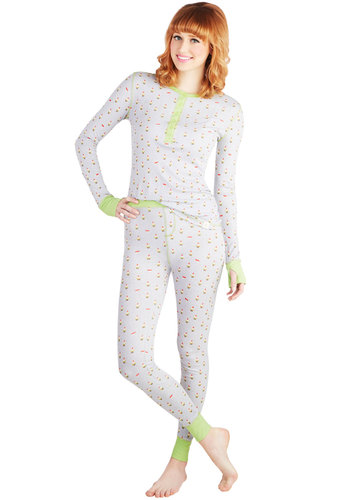 There's a Nap for That Pajamas in Gnomes - Knit, Multi, Novelty Print, Long Sleeve, Quirky, Critters