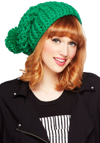 All in Good Pine Hat by Kling - Knit, Green, Solid, Knitted, Poms, Casual, Fall, Winter, Good