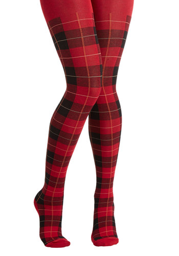 Hoot and Scholar Tights - Red, Black, Plaid, Vintage Inspired, 90s, Better, Knit, Winter