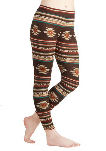 Desert Nights Leggings by Ryu - Knit, Brown, Print, Casual, Skinny, Better, Mid-Rise, Printed/Patterned, Ankle, Brown