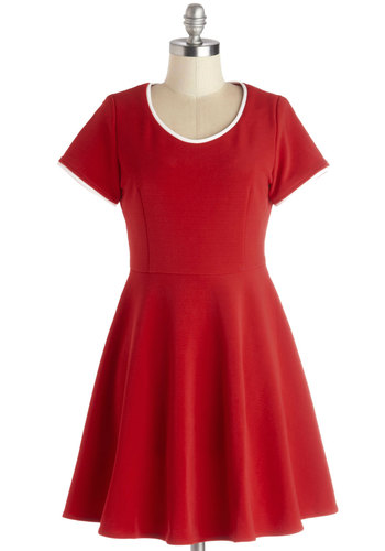 Simplify Your Style Dress by Kling - Red, Solid, Trim, Casual, Minimal, A-line, Short Sleeves, Short, Knit, Better, White, Scoop, Valentine's