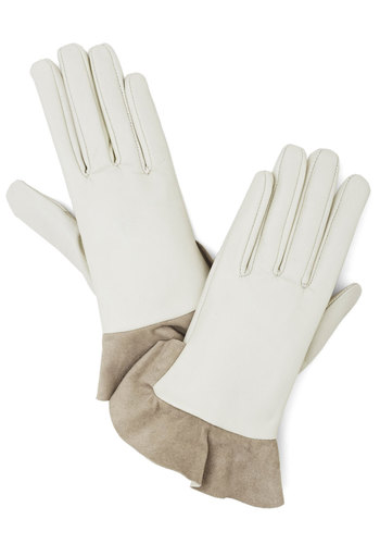 You Winsome Gloves by Kling - Leather, White, Solid, Ruffles, Winter, Best