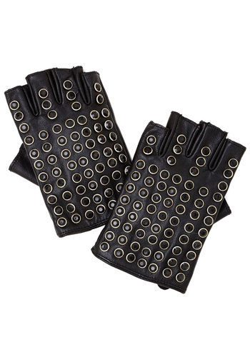 Dashing Through the Show Fingerless Gloves by Kling - Leather, Black, Studs, Urban, Best, Silver, Rhinestones