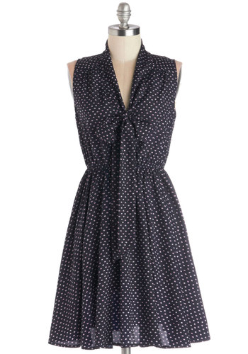 Fresh Phenom Dress - Cotton, Woven, Blue, White, Polka Dots, Tie Neck, Casual, A-line, Sleeveless, Good, V Neck, Pink, Mid-length