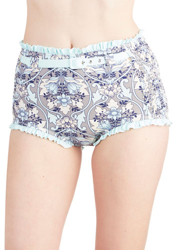 Beach Your Potential Swimsuit Bottom - Knit, Grey, Blue, Floral, Ruffles, Belted, High Waist