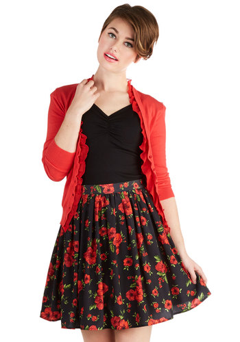 Focus on Flowers Skirt - Black, Floral, Party, Better, Chiffon, Woven, Daytime Party, Short, Black, Spring, Fall, Winter, Full