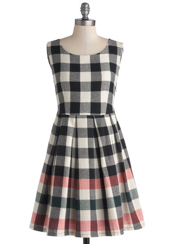 Check This Out Dress by Kling - Pink, Black, White, Checkered / Gingham, Pleats, Casual, A-line, Tank top (2 thick straps), Mid-length, Cotton, Woven, Better, Scholastic/Collegiate, Scoop