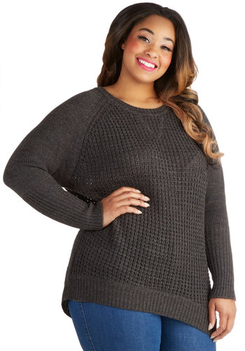 Saturday Knit Live Sweater in Plus Size - Knit, Grey, Solid, Knitted, Casual, Long Sleeve, Scoop