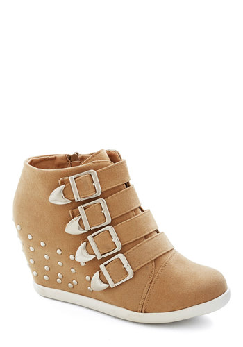 Brunching Out Bootie - Mid, Faux Leather, Tan, Solid, Buckles, Studs, Urban, Wedge