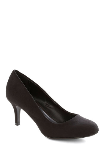 At a Moment's Notice Heel in Velvet Black - Mid, Faux Leather, Black, Solid, Work, Minimal, Good, Party, Variation, Basic, Top Rated
