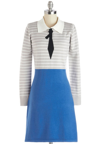 Enlightened Lecturer Dress - Vintage Inspired, 60s, Mod, Scholastic/Collegiate, Knit, Mid-length, Blue, Grey, White, Stripes, Casual, Shift, Long Sleeve, Better, Collared, Statement