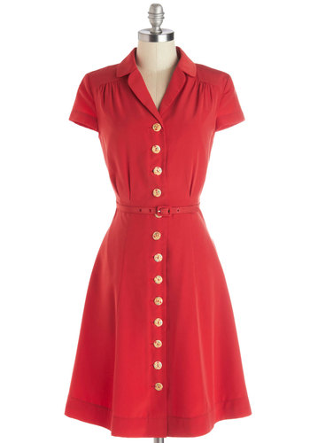 Taos Tour Dress by Myrtlewood - Red, Solid, Buttons, Casual, Vintage Inspired, Shirt Dress, Short Sleeves, Woven, Better, Exclusives, Private Label, Mid-length, Pockets, Belted, 50s, Collared