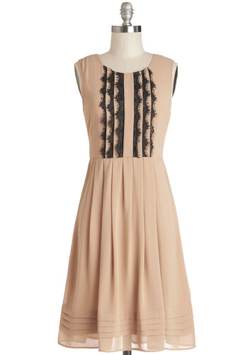 Dainty Detour Dress - Tan, Lace, Pleats, Party, A-line, Sleeveless, Good, Scoop, Woven, Mid-length